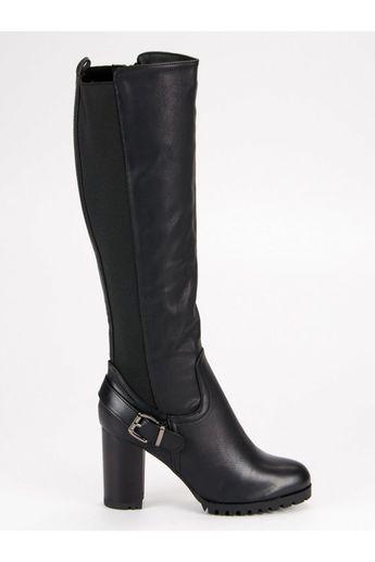 Čierne čižmy s kožušinou CM Paris 99608790fd0