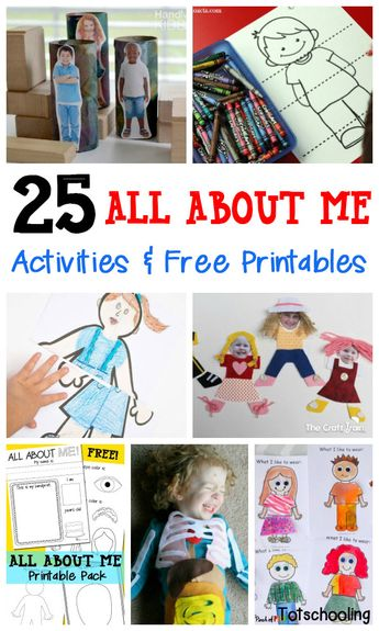 A collection of 25 All About Me activities, including free printables, arts & crafts and learning activities for kids.
