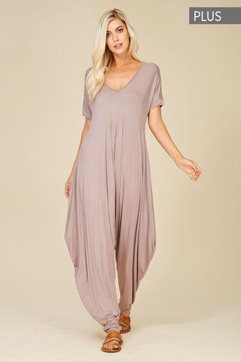 a4d8e584bcd Plus Size Roll Up Sleeve Jumpsuit Style  J8051X  16.00 Plus size knit  jumpsuit featuring solid