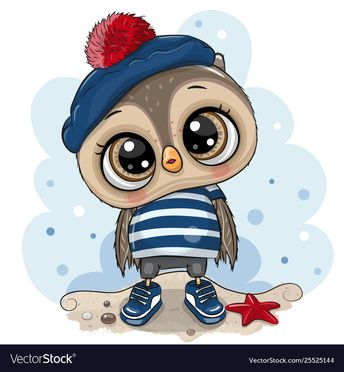 Bacartoon owl in sailor costume Royalty Free Vector Image