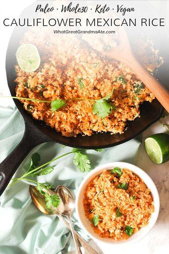 Cauliflower Mexican Rice (Paleo, Vegan, Keto, Whole30)