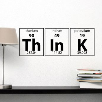 Periodic Table Of Elements Think Wall Decal Vinyl Lettering Decals Murals Office Kids Children Room