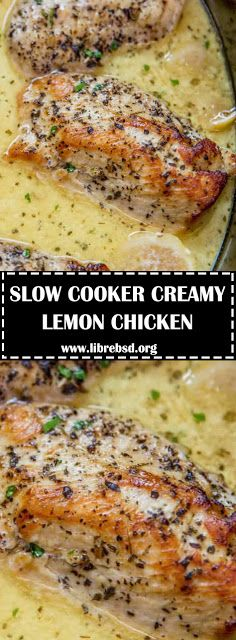 SLOW COOKER CREAMY LEMON CHICKEN - #recipes