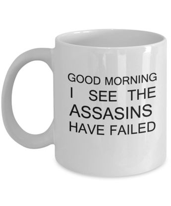Good Morning I see the Assassins Have Failed Funny Coffee mug Tea cup Gift Wishes 11 OZ Morning refresh