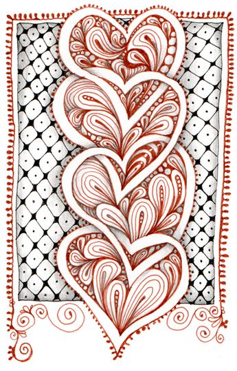 "Zentangle® hearts, by Carole Ohl.  (Yeah, ""Zentangle®"" is a legally registered trademark of Zentangle, Inc.  It's all about the money.  I think that's too bad.)"