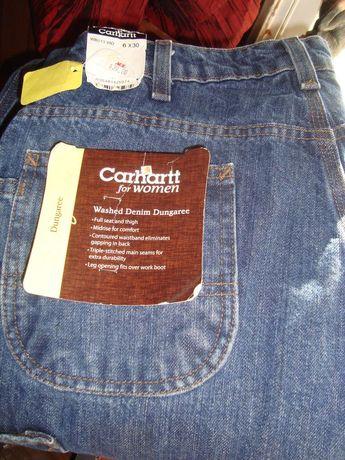 82c71706 NWT CARHARTT WOMAN WASHED DENIM DUNGAREE JEANS SZ 6 X 30L #fashion #clothing  #