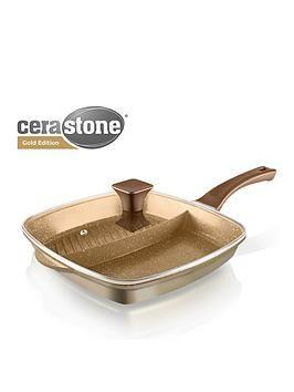 CeraStone 2-in-1 Cast Aluminium Grill Pan - Gold