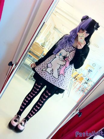 (Took a better pic ;v;)  Outfit rundown ♪(´ε` )  Wig:gothiclolitawigs  Ribbons:handmade by me  Sweater: banana fish  Skirt:Liz Lisa   Tights:angelic pretty  Shoes: Tuk