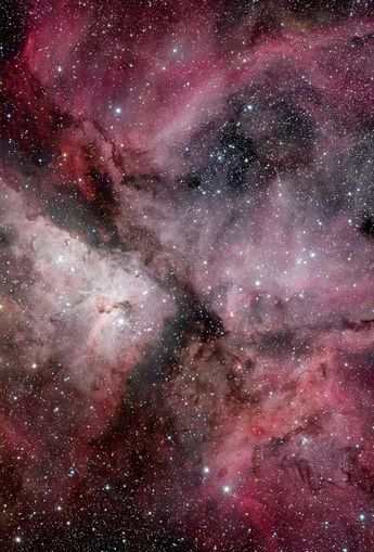 The Keel Nebula, also called Carina Nebula or NGC3372, is a large emission nebula that surrounds several open star clusters. Among these stars are Eta Carinae & HD93129A, two of the most massive and luminous stars in the Milky Way. The nebula is at an estimated distance of 6,500 to 10,000 light years from Earth. It is located in the constellation of the Quilla (Carina). This nebula contains several O-type stars.