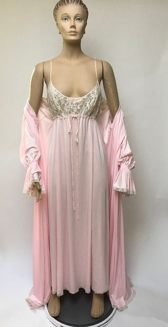 f828e39dc Lucie Ann Pink Nightgown Robe Set Claire Sandra Beverly Hills Peignoir  Wedding Pin Up Vintage Lingerie