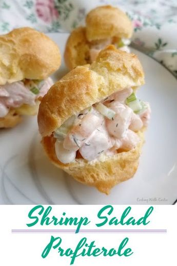 The perfect appetizer is here! A buttery puff shell stuffed with delicious shrimp salad. It's a great starter, fun lunch and would be perfect served at a baby or wedding shower! #shrimp #appetizers #lunch #partyfood #recipes