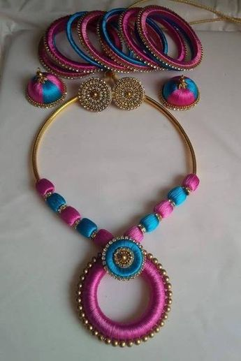 638ee3d6237a Baby pink and light blue Silk Thread Jewellery Set