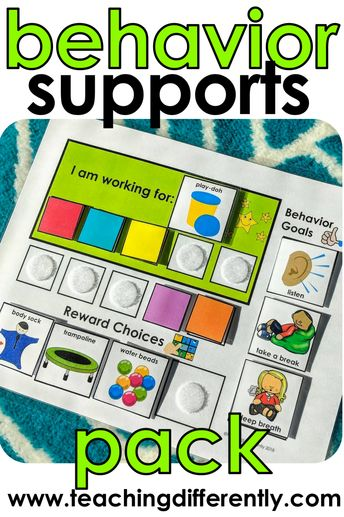 Positive reinforcement visuals and behavior systems (including token boards, first/then boards, work choices boards, and so much more) in 11 different colors so that you can color-code your autism or special education classroom and provide your students with the behavior tools they need to be successful!