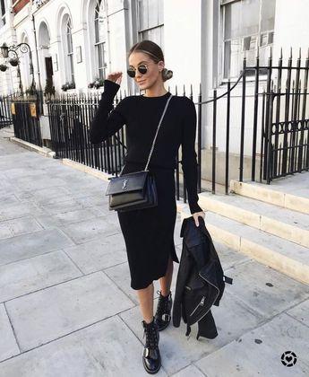 Longue robe noire +boots+ perfecto