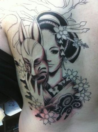 Geisha Girl With Devil Mask Tattoo On Back