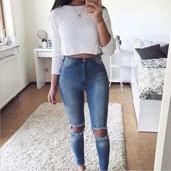 Señoras de las mujeres de la rodilla rasgada azul Skinny Jeans Faded Slim Fit Denim agujero roto caliente