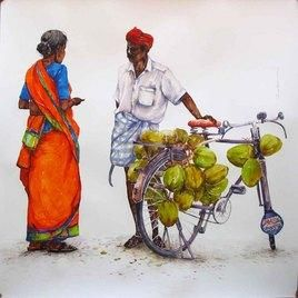 Coconut Seller Painting By Siva Balan