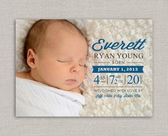 Baby Boy Birth Announcement - Everett. $15.00, via Etsy.
