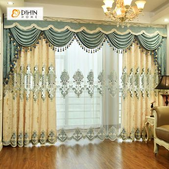DIHIN HOME Beige Luxury Exquisite Embroidered Valance ,Blackout Curtains Grommet Window Curtain for Living Room ,52x84-inch,1 Panel