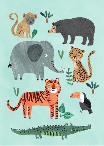 Print - Wild Animals 50 x 70cm