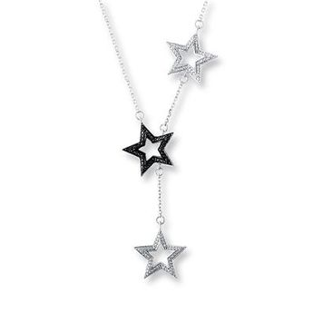 Black/White Diamond Star Necklace 1/20 ct tw Sterling Silver