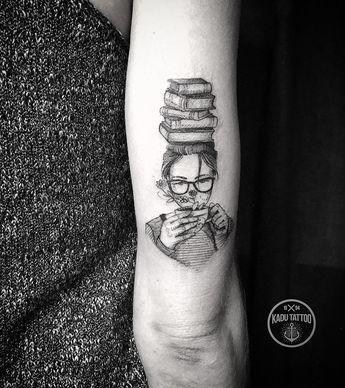 Pretty tattoo art of Girl and Books motive done by Kadu Tattoo from Brazil