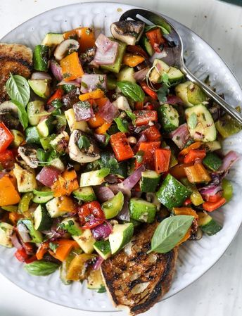 Grilled Chopped Veggies with Garlic Toast