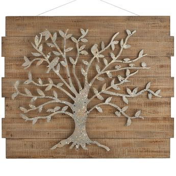 Instantly transform your space with our arboreal masterpiece. Inspired by the tree-of-life motif, it symbolizes enduring strength with its handcrafted, speckled iron silhouette on solid fir boards. And it makes a fascinating focal point, too.