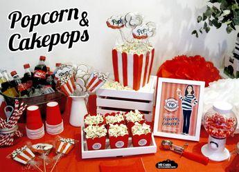 Mesa dulce Babyshower de palomitas. Popcorn themed babyshower. Sweet table | Blog www.micasaencualquierparte.com
