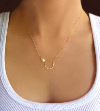 Pearl Circle Necklace Gold, Dainty Small Freshwater Pearl Necklace Bridesmaid Rose Gold, Sterling Silver, Minimalist Bridal Wedding Jewelry