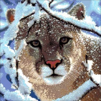 "Bead embroidery kit ""Puma"", Counted half cross stich, Full bead embroidery, Aida 14 ct, DIY bead painting"
