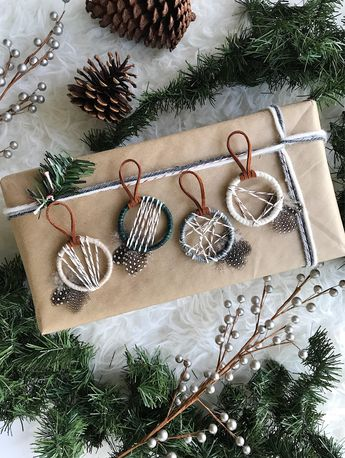 Woodland Christmas Ornaments, Nordic Snowfall Ornaments, Modern Winter Decor, Rustic Holiday, Xmas Gifts for Coworkers, Small Dreamcatcher