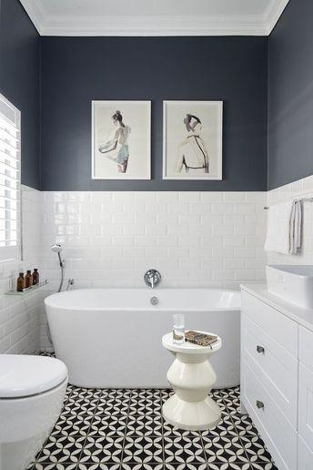 Half wall blue on bottom were towel rack is rest of wall full blue rachelsanchez