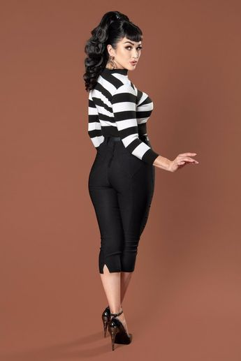 Deadly Dames Jailbird Cropped Sweater Top in Black and White Stripe