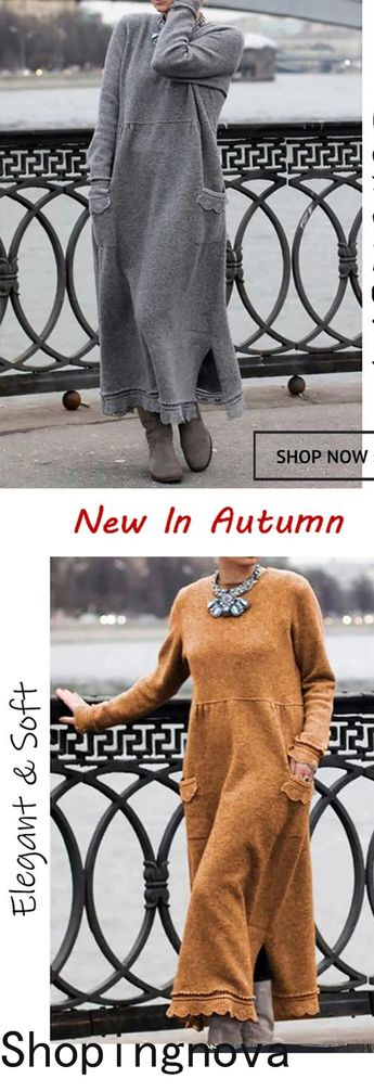 Style	Casual,Daytime Pattern	Solid Detail	Slit,Side pockets,Lace trim Sleeves Type	Long sleeves Length	Maxi Collar	Crew neck Material	Polyester Season	Fall,Winter Occasion	Going out, Daily