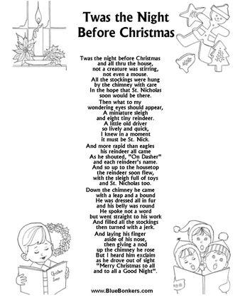 Twas the Night Before Christmas Words   Twas the Night Before Christmas, Free Printable Christmas Carol Lyrics ...