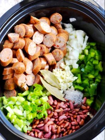 Servings 6 Ingredients 1 pound andouille sausage, sliced ½-inch thick 1 cup diced ham 2 16-ounce cans red beans (we use kidney beans) 3 stalks celery, thinly sliced 2 green bell peppers, small diced 1 cup diced onion 5 green onions, thinly sliced 8