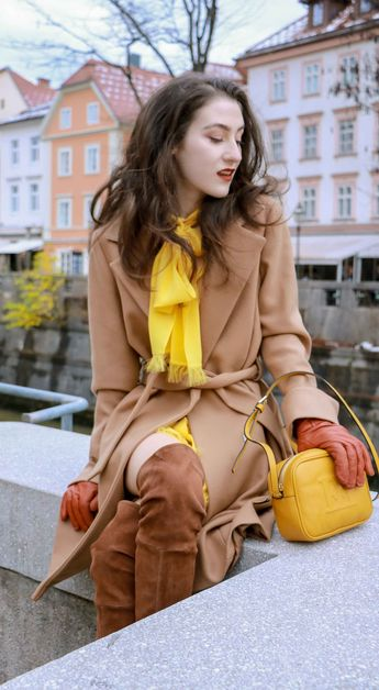 28a7d6d0f96d Beautiful Slovenian Fashion Blogger Veronika Lipar of Brunette from Wall  dressed in Escada camel wrap coat