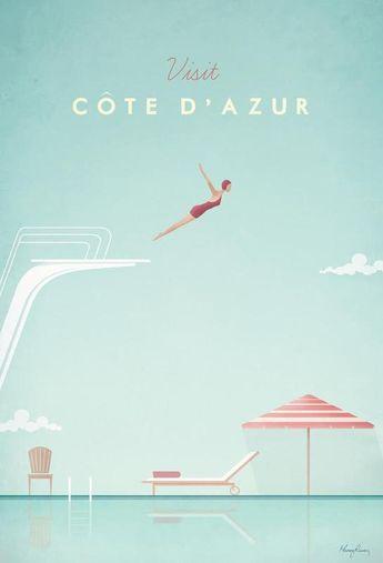 Côte d'Azur door Henry Rivers als Acrylglas print | Online bestellen bij JUNIQE ✓ Betrouwbare verzending ✓ Ontdek nu nieuwe designs bij JUNIQE!