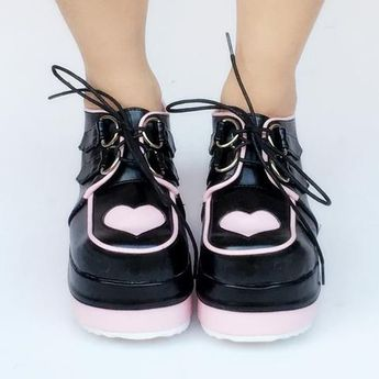 b6022061ae2 White Black Pink Harajuku Strawberry Laced Lolita Shoes SP1