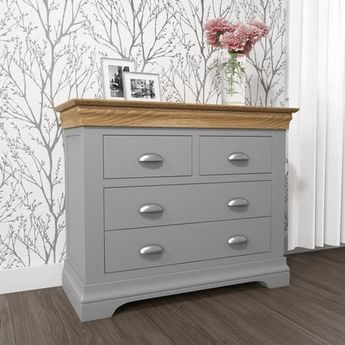Loire Two Tone 2+2 Chest of Drawers in Grey and Oak | Furniture123