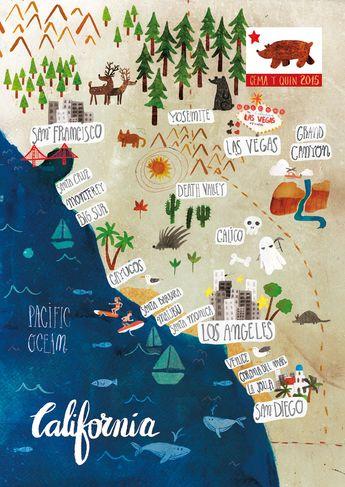 Illustrated map of California, Usa // Carte illustrée de Californie, USA