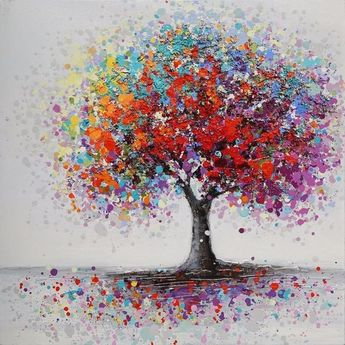 Fashion Framed Colorful Tree Abstract Picture Canvas Print Paintings Home Wall Art Decor