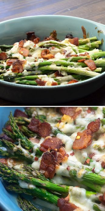 Baked asparagus layered with melty cheese, crispy bacon, and garlic! This low carb side dish is a new favorite in our house. #lowcarb #keto #asparagus #ketorecipes