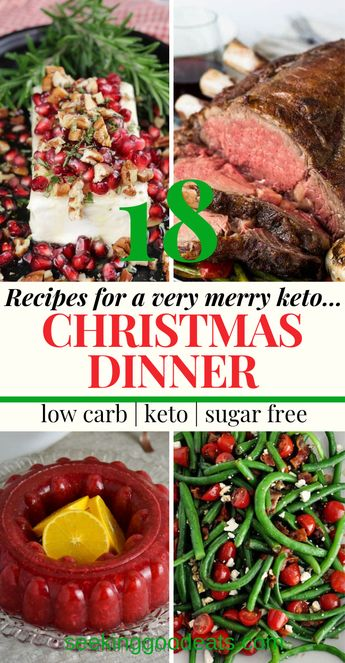 Have the best Christmas dinner ever! Low Carb and Keto Christmas Dinner Recipes is a compilation of the best ketogenic and low carb versions of your favorite holiday recipes. Pick and choose your favorites to plan a perfect holiday dinner. Prime rib, ham, stuffing, mashed cauliflower, brussel sprouts, green beans, cranberry jello, and delicious desserts. These healthy recipes are so delicious you'll never know you're on a diet! #christmas #keto #lowcarb #holidayrecipes #dinnerrecipesonadiet
