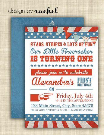 4th Of July First Birthday Invitation