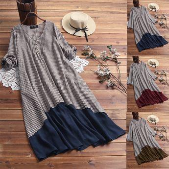 Bohmian Print Bat Sleeve Baggy Plus Size Maxi Dress with Pockets