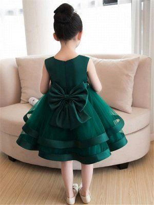 Lovely A-Line Flowers Bowknot Girls Party Dress   Tulle Layers Flower Girl Dresses