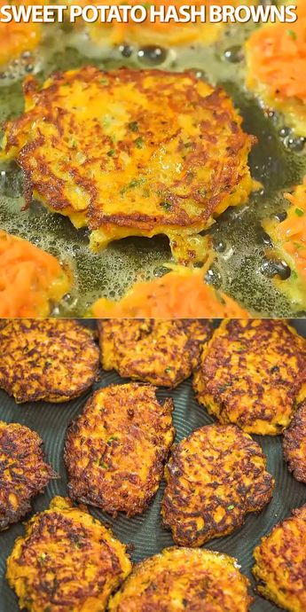 Made with only 4 ingredients, these Sweet Potato Hash Browns are easy to make and very delicious. Learn how to make perfect hash browns with my step-by-step photo and video instructions.   If you try this recipe, please, share some photos! I always check them! #sweetpotatoes #breakfast #vegtarian #lunch #recipeoftheday
