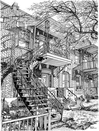 Plume et encre de chine 12 x 16 pouces Novembre 2014 Un exercice technique qui montre les célèbres escaliers tordus de Montréal,...